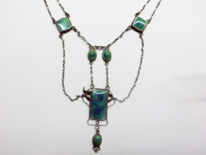 Silver necklace with Ruskin enamels, circa 1905.