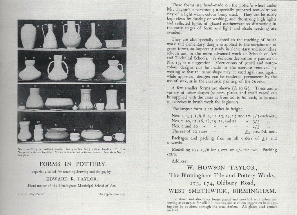 Forms in Pottery pamphlet, circa 1900.