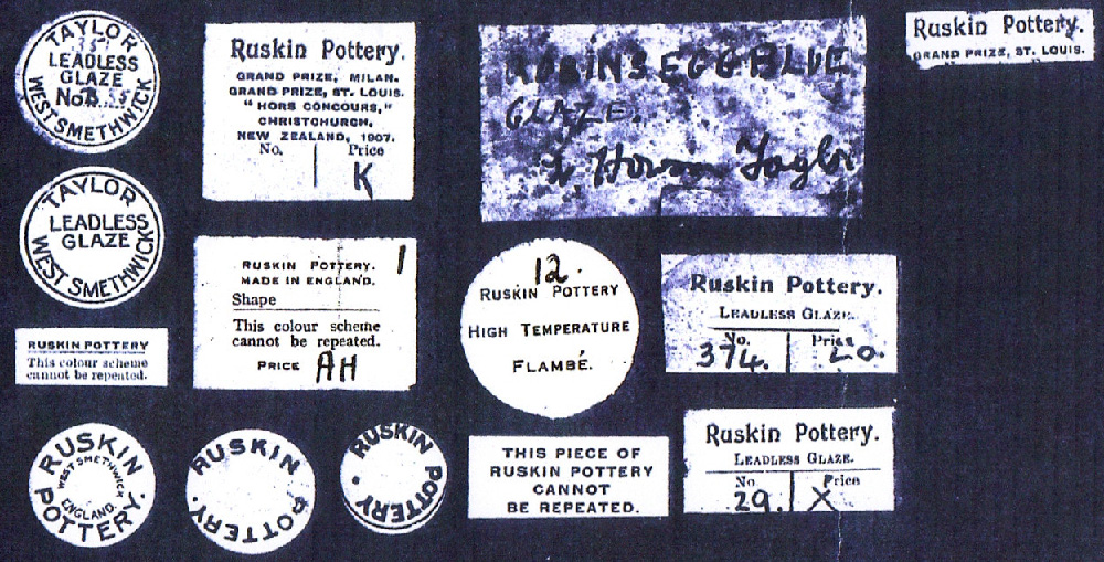 A variety of labels that can be found on Ruskin Pottery.
