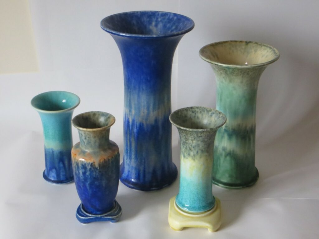 Various vases showcasing crystalline glazes.
