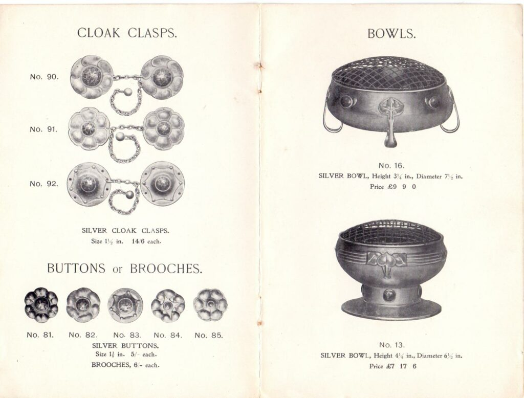Pages from the A. E. Jones catalogue circa 1905, with illustrations of Ruskin enamels applied to the silver-work.