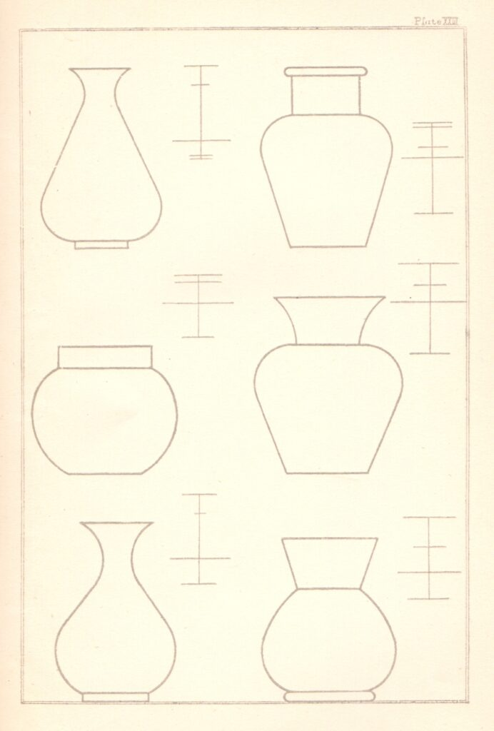Shape plate for pottery vases taken from the book Elementary Art Teaching by E.R. Taylor, 1890.